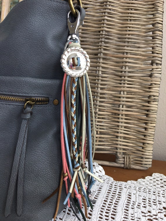 "Western Flair Fringe Tassel Bag Charm + Keyring Faux Leather Tassel with Concho Braids and Beads 9"" Long + Clip (OOAK44)"