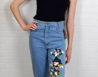 Mom Jeans High Waist Pants Disney Jeans Womens Vintage Tapered Leg Jeans Novelty Mickey Mouse Jeans Minnie Faded Jeans 28x31 FREE SHIPPING