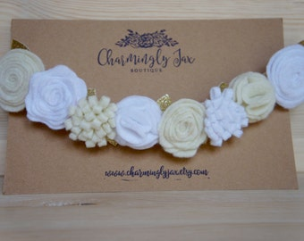 White and ivory felt flower crown, felt headband, felt flowers, toddler flower crown, adult flower crown, baby headband, holiday headband