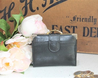 Vintage Leather Coin Purse/Vintage Black Coin Purse/Money Purse/Coin Purse (Ref1993A)