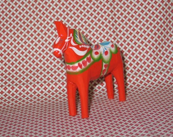 Vintage Swedish Dala Horse / Hand Carved & Painted Wooden Sweden Folk Art / Nils Olssen? / Older Horse-Great Patina!