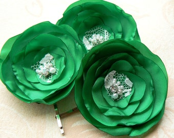 Emerald green wedding hair flowers (set of 3), bridal hairpiece, bridal hair clips, wedding hair accessories, READY TO SHIP