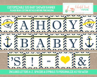 Instant Download, Nautical Baby Shower Banner, Printable Baby Shower Banner, Nautical Printables, Nautical banner, Yellow, #0010