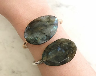 Flashy Labradorite Wire Wrapped Silver or Gold Plated Bangle Cuff Bracelet----> The Haute Bohemian Jewelry