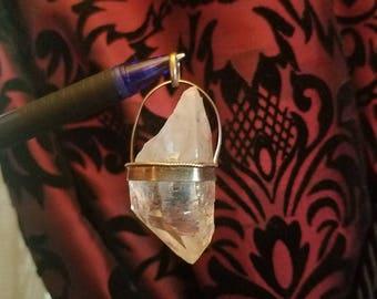 Vintage 1970's Sterling Silver Quartz Crystal Pendant, Handmade
