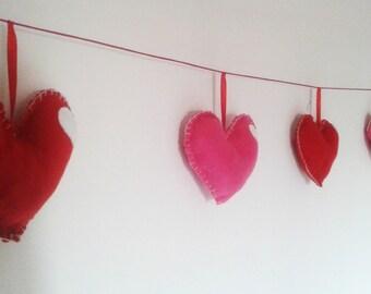 room wall decoration valentine day hearts felt love