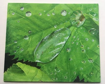 """Water on Leaf Acrylic Painting 10x12"""""""