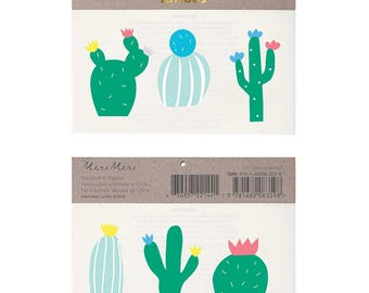 Kids Temporary Tattoos - Cactus Tattoos by Meri Meri, Washable tattoo, Fake tattoo, Kids tattoo. Southwest Party Tattoo