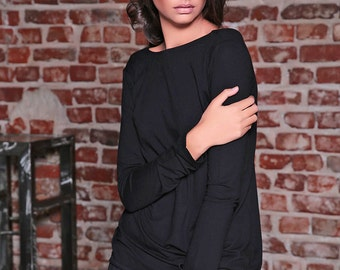 Black Maxi Top / Oversize Top / Long Sleeve Top / Casual Top / Black Blouse / Maxi Top / Black Shirt / Extravagant Blouse/ Open Back Top