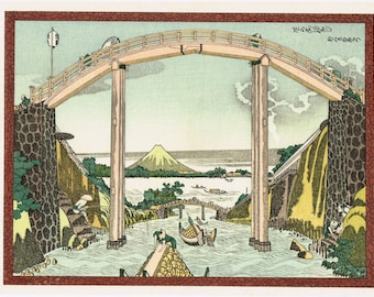 "Japanese Ukiyo-e Woodblock print, Hokusai, ""Mount Fuji from Takabashi"""