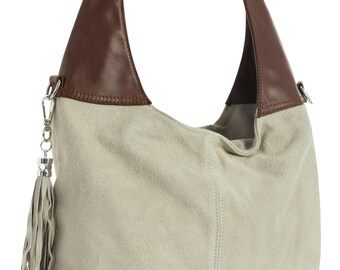 """Agnes by """"LiaTalia"""" - Real Italian Suede Leather Single Shoulder Strap Hobo Slouch Bag with Long Adjustable Strap - Light Beige & Brown"""