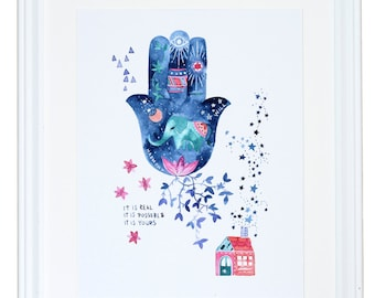 Hamsa Wall Hanging, Watercolor Painting, Fortune Teller,  Palm Reader Psychic Print, It Is Real It Is Possible It Is Yours, Meera Lee Patel