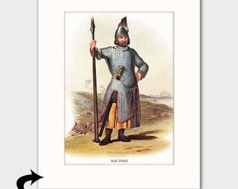 "MacPhee Family Art Print w/Mat (Classic Scottish Gift, Helmet & Spear, Antique Decor) Matted Scotland Art --- ""Clan MacPhee"" No. 160"