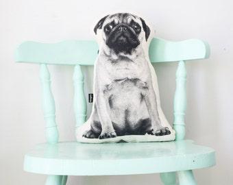 Pug dog shaped pillow / cushion - screenprinted in black / monochrome