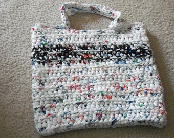 Tote made from recycled plastic bags (plarn). White with Black/white stripe.