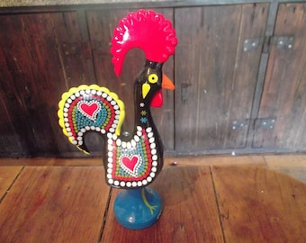 Large LUCKY COCK, Hand Painted, BARCELOS Rooster, Hearts,good Luck Symbol  Of Portugal