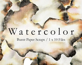 WATERCOLOR Burnt Paper Scraps - 10 Hand Painted Files. 300ppi PNG files. Transparent Backgrounds.