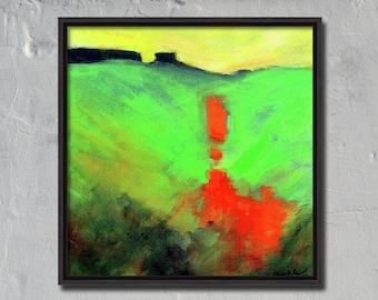 Modern Landscape, Original Painting, 12x12 Canvas, Contemporary Abstract, Yellow Green, Orange, Square, Textured Acrylic, Rural