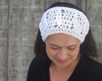 Cabled crochet headband, headwrap, ear warmer - winter white - crochet accessories Winter Fashion handmade Salutations Crochet