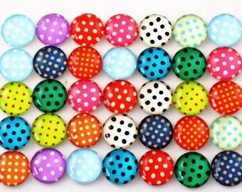 20 cabochons 12 mm glass cabochon polka dots