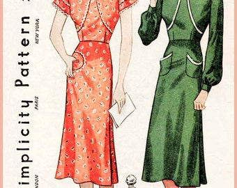 1930s 30s Vintage Sewing Pattern wrap dress frock or apron bishop sleeves Bust 34 b34 reproduction