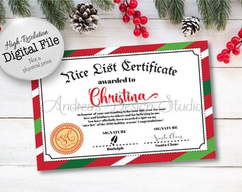 Custom Santa's Naughty or Nice List Certificate, Christmas Certificate, Santa Printable, Santa's Nice List, Digital Files