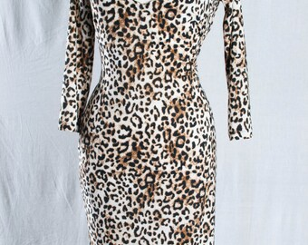 Leopard print sheath dress in high fashion mixed jersey fabric