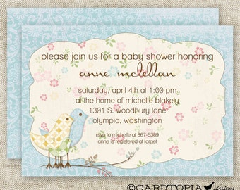 Shabby Chic Birds BOY BABY SHOWER Vintage Blue Invitations Digital Printable Personalized - 81444655