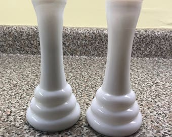Pair of Randall milk glass bud vases.