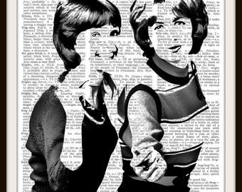 Laverne and Shirley Silhouette--American TV Sitcom - Dictionary Background Art Print--Fits 8.5x11 Document Frame