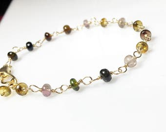 Tourmaline Bracelet, Multi Color Linked Gemstones, Gifts for Her