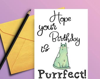 Cat birthday card - Birthday card from cat - Card for cat lover - Funny bday card  - Funny birthday card - Card for best friend - PRINTABLE
