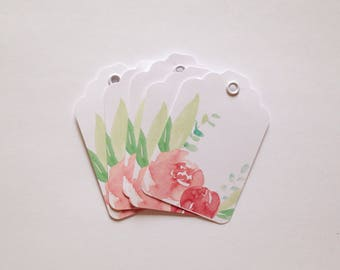 5 Watercolor Pink Flower Gift Tags