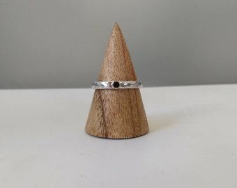 September Sapphire birthstone silver ring