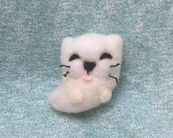 Felted Ghost Cat Plushie