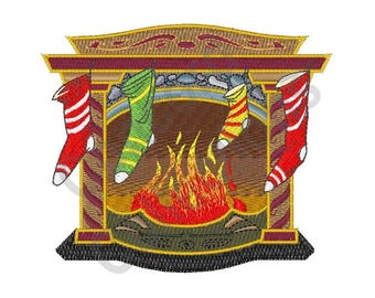 Christmas Fireplace - Machine Embroidery Design, Christmas, Fireplace, Stockings