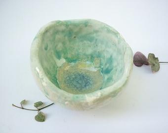 coupelle ceramique, cendrier bleu lagon fait-main poterie, repose bijou, coupe apero,coupe rustique, vide-poche, cadeau homme,cadeau femme