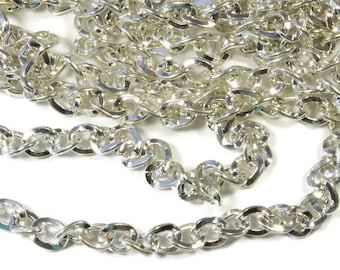 5 mm Silver Plated Cable Chain, 40 inches