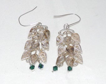 Repurposed 800 Silver Leaf Earrings