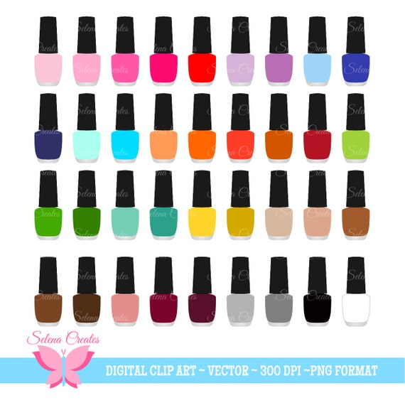 nail polish clipart set digital clipart nail color nail rh etsy com nail polish clip art border nail varnish clipart