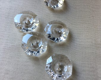 5 Buttons Clear in Faux Glass for Garments, Costumes, Knitting, Crocheting, Jewelry Design, Millinery
