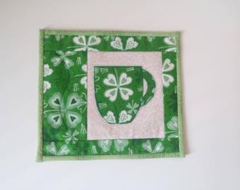 St. Patrick's Day Mug Rug - Shamrocks Mug Rug - Irish Theme Mug Rug - Shamrocks Snack Mat - Handmade Mini Mat - St. Patrick's Day Decor