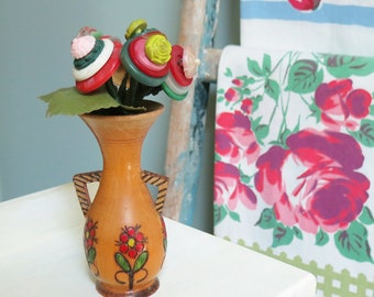 Handmade Button Bouquet in a Vintage Flower Embellished Wooden Vase with Two Tiny Striped Handles... Cute!
