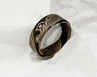 Mokume Gane ring 14k rose gold, 14k white palladium gold, and sterling silver.