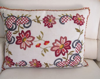 Large vintage embroidery and fabric cushion