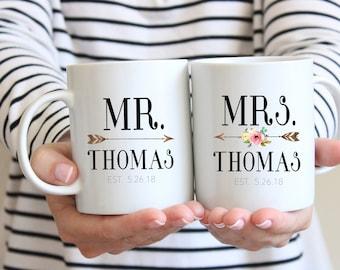 Mr and Mrs Coffee Mug, Wedding Gift, Hubby and Wifey Mug, Mr and Mrs, Wedding Mugs, Custom Mugs, Bridal Shower Gift, Anniversary Gift