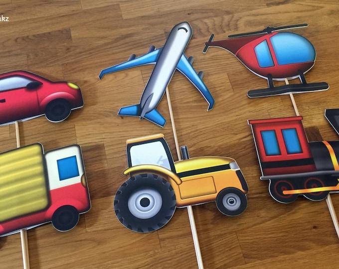 Photo Props: The Transportation Emoji Set (6 Pieces) - party wedding birthday social media iPhone app icon centerpiece car plane train truck