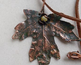 Maple Leaf Electroforming pendant Copper necklace with amber Natural leaf covered with copper charm Herb jewelry