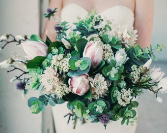 The 'Estelle' Disarrangement  - Pastel Pink Protea and Eucalyptus Keepsake Bouquet