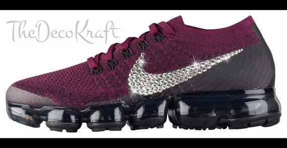 Womens Nike Air VaporMax Flyknit Bordeaux Berry Black Custom Bling Crystal  Swarovski Sneakers, Running Shoes, Tennis Shoes, Nikes